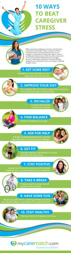 Check out this infographic by MyCareMatch.com for tips on how to relieve caregiver stress!