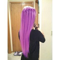 Radiant Orchid Hair Color ❤ liked on Polyvore featuring beauty products, haircare, hair color, hair, hairstyles and purple hair