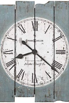 Howard Miller Mack Road Wall Clock In Antique Blue Wood - The Howard Miller Mack Road Wall Clock is a must-have for farmhouse inspired spaces. Features planked wood in antique blue finish, complemented by a white dial with Roman numerals. Wall Clock Painting, Clock Art, Wall Art, Home Office, Small Office, Blue Wall Clocks, Diy Wall Clocks, Howard Miller, Unique Clocks