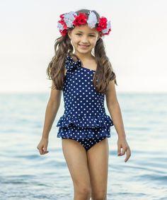 Mia Belle Baby Navy Polka Dot Ruffle Asymmetrical Tankini//