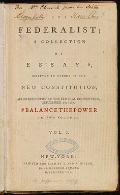 """The Federalist Papers is a collection of 85 articles and essays written by Alexander Hamilton, James Madison, and John Jay under the pseudonym """"Publius"""" to promote the ratification of the United States Constitution. James Madison, Ap Us History, American History, Family History, Alexander Hamilton, Federalist Party, Westerns, United States Constitution, Federal Constitution"""