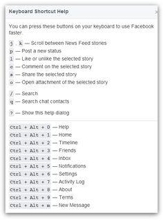 Facebook keyboard shotcuts