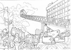 difficult coloring page of detailed firefighter on the fire site for adults - Firefighter Coloring Pages