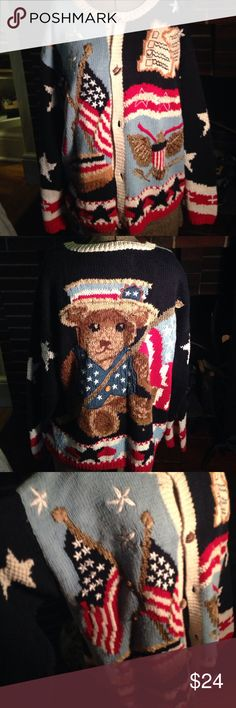 Happy Memorial Day Sweater Vintage cotton patriotic sweater. So fun with the Flag, Eagle, an Uncle Sam Bear. Eagles Eye Sweaters Cardigans