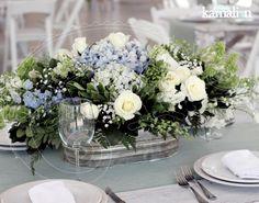 www.kamalion.com.mx - Decoración / Country / Rustic / Blue & Gray / Gris & Azul / Decor / Flores / Flower / Detalles originales / Centerpiece / Centros de Mesa.