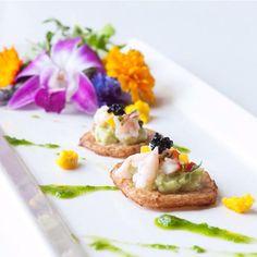 Treeline Catering's newest hor d'oeuvre - jicama chip, avocado puree, prawn ceviche, chile, caviar