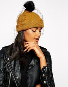 ASOS | ASOS Beanie In Mohair Mix With Detachable Veil/Pom at ASOS