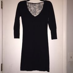 American Eagle Dress Never worn American Eagle Sweater Dress with beautiful lace back! Knee length. Does not have size on tag but believe it is small. American Eagle Outfitters Dresses