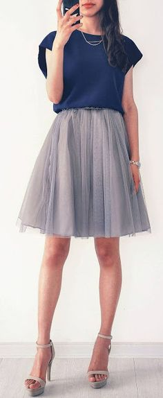 Date night | Deep blue shirt with grey pleated tulle skirt