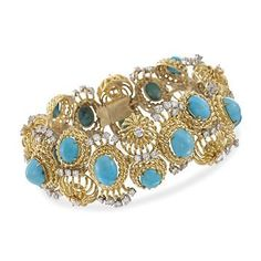 "Ross-Simons - C. 1980 Vintage Turquoise and 6.25 ct. t.w. Diamond Bracelet in 18kt Yellow Gold. 7.5"" - #794186"