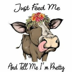 'Just Feed Me And Tell Me I'm Pretty Cute Cow Gifts Flower Crown' Sticker by hustlagirl Cow Quotes, Animal Quotes, Cow Gifts, Cow Decor, Cow Pictures, Cow Painting, Cute Cows, Cow Art, Pretty And Cute