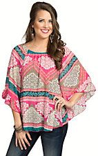 R. Rouge Women's Pink Multicolor Print with 3/4 Ruffle Sleeves Top