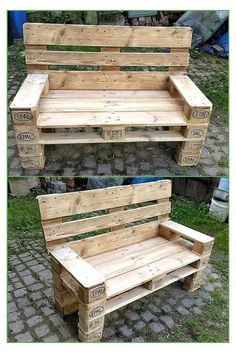 to Give Wood Pallets Second Life recycled-pallet-outdoor-benchrecycled-pallet-outdoor-bench Pallet Lounge, Diy Pallet Sofa, Wooden Pallet Projects, Wood Pallet Furniture, Pallet Ideas, Furniture Care, Pallet Benches, Pallet Tables, Pallet Seating