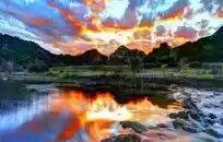 River Under Amazing Sunset Sky Hdr Hd Desktop Background wallpaper