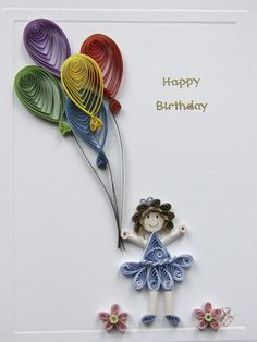 Quilled little girl with balloons.