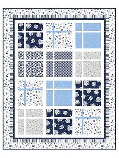 """Beautiful blues abound in this baby quilt kit.   Let any newborn snuggle up with this quilt that features fun blocks of blue fabrics that showcase everything from fun geometric shapes, letters and numbers to stripes and oh-so-cuddly owls. The kit includes full, step-by-step instructions as well as all the fabric necessary to make the top of the quilt, plus the binding. Finished size is 35 1/2"""" x 44 1/2""""."""
