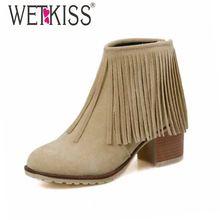 Marca Primavera Otoño Invierno Botas Tamaño 34-43 Moda Borla Sólido Cuadrados Tacones Med Botas Cortas de tobillo Botas para Dama Mujeres botas(China (Mainland))