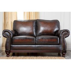 Abbyson Living Barclay Hand Rubbed Leather Loveseat - Brown | from hayneedle.com