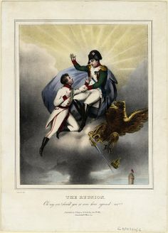 """The Reunion"", 1832, by Tassaert. This lithograph commemorates the death of Napoleon II, son of Napoleon Bonaparte in 1832. Father and son reunite at heaven. Napoleon: ""Oh son! Should you have so soon rejoined me?"""