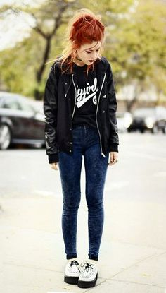 FLYGIRL (by Lua P) http://lookbook.nu/look/4320293-Educate-Elevate-Tshirt-She-Inside-Jacket-New