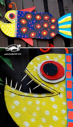 THE DEEP-SEA FISH.Cardboard and tempera paint, then add accents with permanent marker. School Art Projects, Projects For Kids, Crafts For Kids, Arts And Crafts, 4th Grade Art, Sea Crafts, Cardboard Art, Kindergarten Art, Art Lessons Elementary