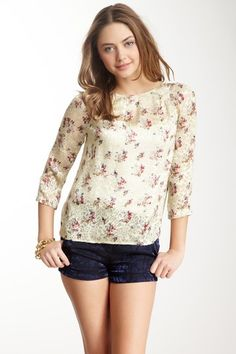Floral Print 3/4 Length Sleeve Shirt by See by Chloe on @HauteLook