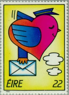 Stamp: Stylised Love Bird with Letter (Ireland) (Greetings Stamps Mi:IE 589 Stamp Collecting, Love Birds, Postage Stamps, Calendar, Clip Art, Letters, Countries, Postcards, Prints