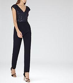 88acdcb67176 Maaya Night Navy Embellished Jumpsuit - REISS Embellished Jumpsuit