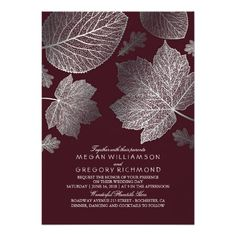 Burgundy and Silver Leaves Vintage Fall Wedding