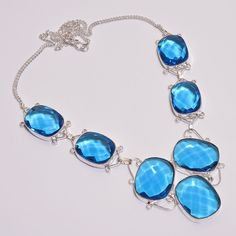 Gorgeous Faceted Swiss Blue Topaz .925 Silver Handmade Necklace Jewelry JB1572 #Handmade
