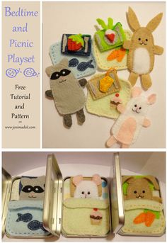 Bedtime, and Picnic time finger puppet play set in all in one small tin. Free pattern and Tutorial!