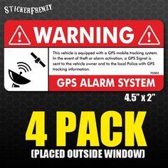 GPS 4 pk Anti Theft STICKER Vehicle Security Alarm Decal Car Truck Vinyl FS002 #StickerFrenzy
