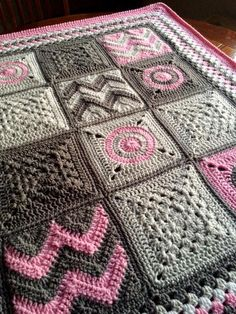 crochet pop square afghan - Google Search