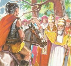 Attila finally halted at the Po, where he met an embassy including the prefect Trygetius, the ex-consul Gennadius Avienus, and Pope Leo I.