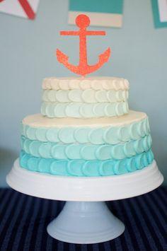 Original pastel marinero decorado con la técnica del Petal Cake y con tonos azules. Tutorial y receta de seakettle. #Receta #PetalCake #Pastel