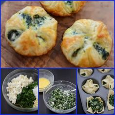 Wonton pastry filled with spinach FOR 4 FAGOTTINI spinach 200 gr Potatoes 120 gr Ricotta Sausage 1 tablespoon butter 1 egg yolk Salt to taste Pepper to taste Puff pastry 230 g (one pack) Antipasto, A Food, Food And Drink, Evening Meals, Food Items, Finger Foods, Vegetarian Recipes, Appetizers, Tasty