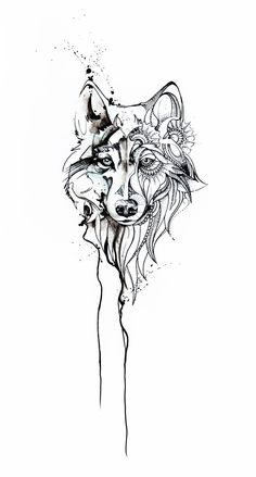 Only Left Side Darker, Messier And The Right Side Color I want this! Only left side darker, messier and the right side color Tattoos And Body Art wolf tattoo Tattoo Sketches, Tattoo Drawings, Body Art Tattoos, Small Tattoos, Sleeve Tattoos, Wolf Tattoos, Lion Tattoo, Tatoos, Gray Tattoo