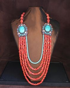 YESSSSS - I think I could drink enough Merlot to wear this baby - Sponge Coral & Turquoise Necklace - guess I'm gonna HAVE to move to Texas or NM