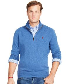 Polo Ralph Lauren Big and Tall Merino Half-Zip Sweater