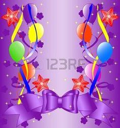 fond clair avec des décorations des rubans: arrière-plan anniversaire. Illustration Illustration