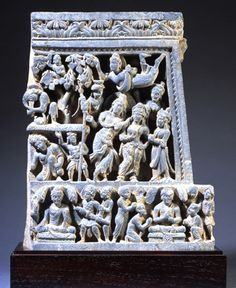 "Relief carving of scenes from the life of Buddha:""The Temptation of Buddha by Mara,""""Subjugating the Demons and AchievingEnlightenment,"" ""The First Sermon"" Gandhara, 2nd-3rd century Ryukoku University"