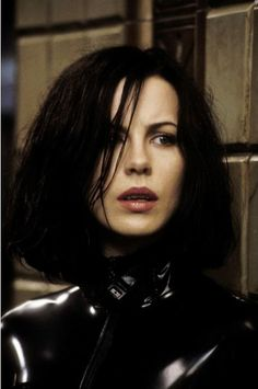 "British actress Kate Beckinsale stars as vampire Selene in 2003 Action/Thriller/Fantasy ""Underworld""."
