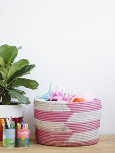 Check out & Other Things for a DIY tutorial on how she organized her craft supplies in our Herringbone Knitting Basket!