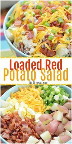 This red potato salad with bacon is loaded with flavor and perfect for your next potluck or picnic. This loaded potato salad recipe includes all your favorite baked potato fixings including sour cream, cheese and green onion but also contains a surprise i Red Potato Recipes, Potato Dishes, Food Dishes, Red Potatoe Salad Recipe, Recipes With Red Potatoes, Red Potato Salad Recipe With Sour Cream, Recipes With Green Onions, Loaded Baked Potato Salad, Potato Salad With Bacon