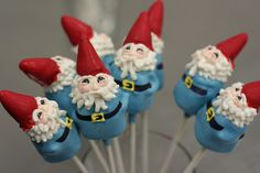Gnome cake pops...someone please make these for me !!!!! I LOVE Gnomes !!!!!!
