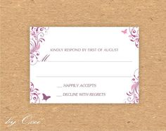 Printable wedding RSVP card template Purple and soft Pink by Oxee