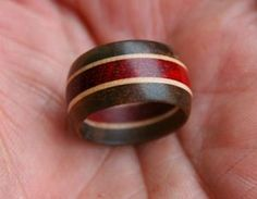 Tutorial laminated wood turned ring. By clovishound, via woodturningonline