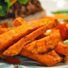 Zoete aardappelpartjes uit de oven @ http://allrecipes.nl