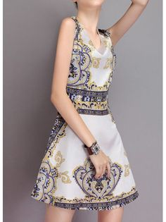 Chiffon Print Sleeveless A-line Dress