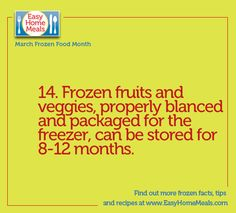 Frozen fruits and veggies last 8-12 months- how COOL! Remember  they're always in season and last much longer than it's fresh counterparts! #MarchFrozenFoodMonth